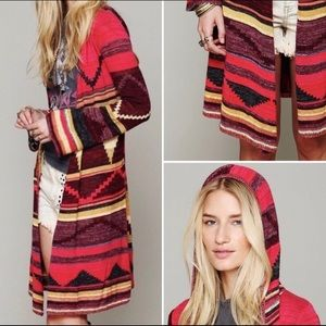Free People Lima Aztec Print Hooded Cardigan